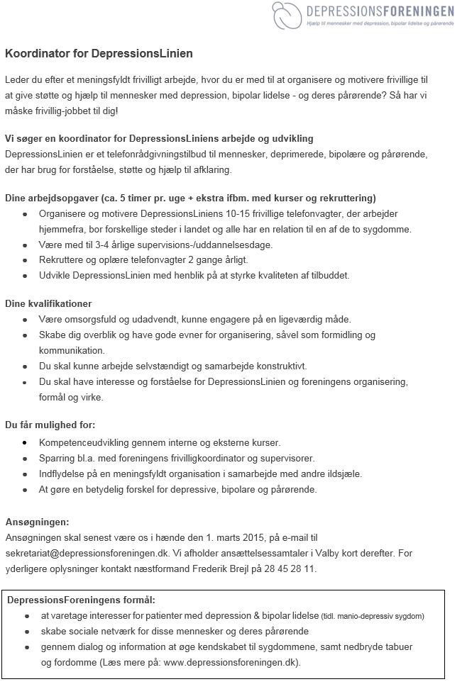 Koordinator DepressionsLinien Frivilligjob Opslag 3